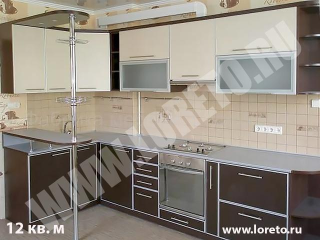 Угловая кухня с эркером в п44т с барной стойкой на заказ фото 9