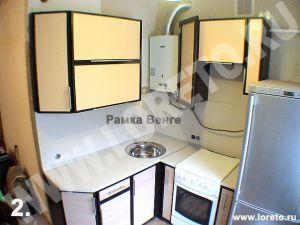 Кухня угловая с газовой колонкой и холодильником фото 68