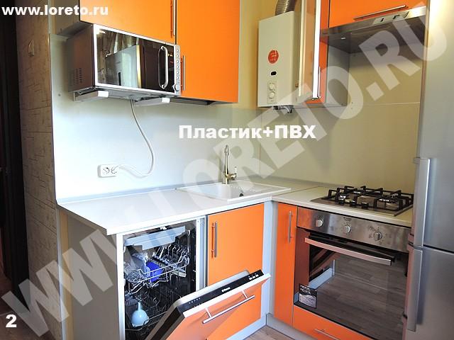 Кухня в хрущёвке дизайн фото с встроенной техникой