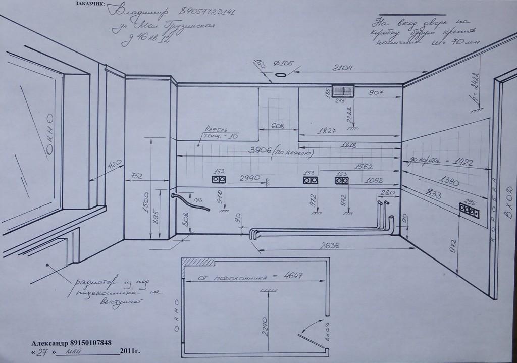 замер помещения для кухни